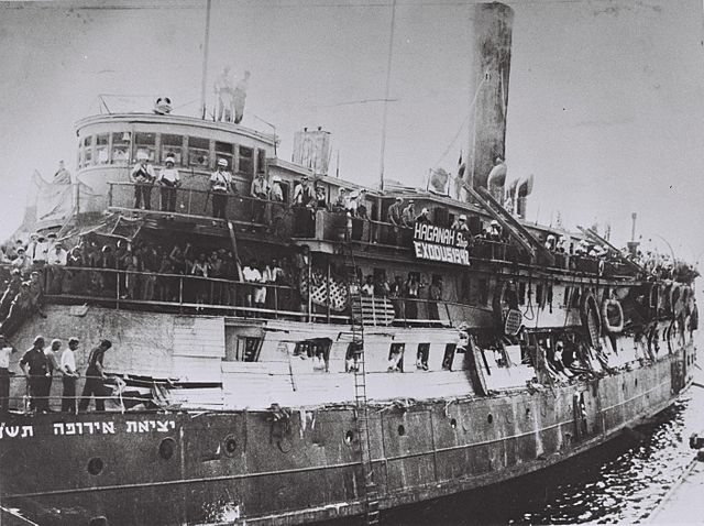 The Exodus, after the British boarded in 1947. Public domain.